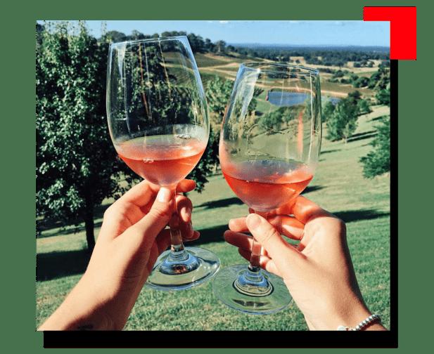 Copas de vino con campo de fondo
