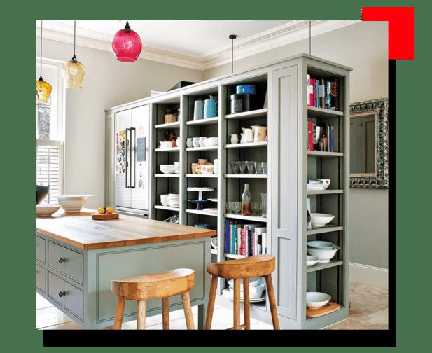 cocina con detalles de color