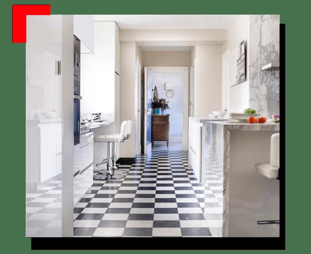 Cocina con piso marmol
