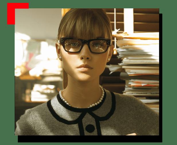 mujer con lentes de descanso