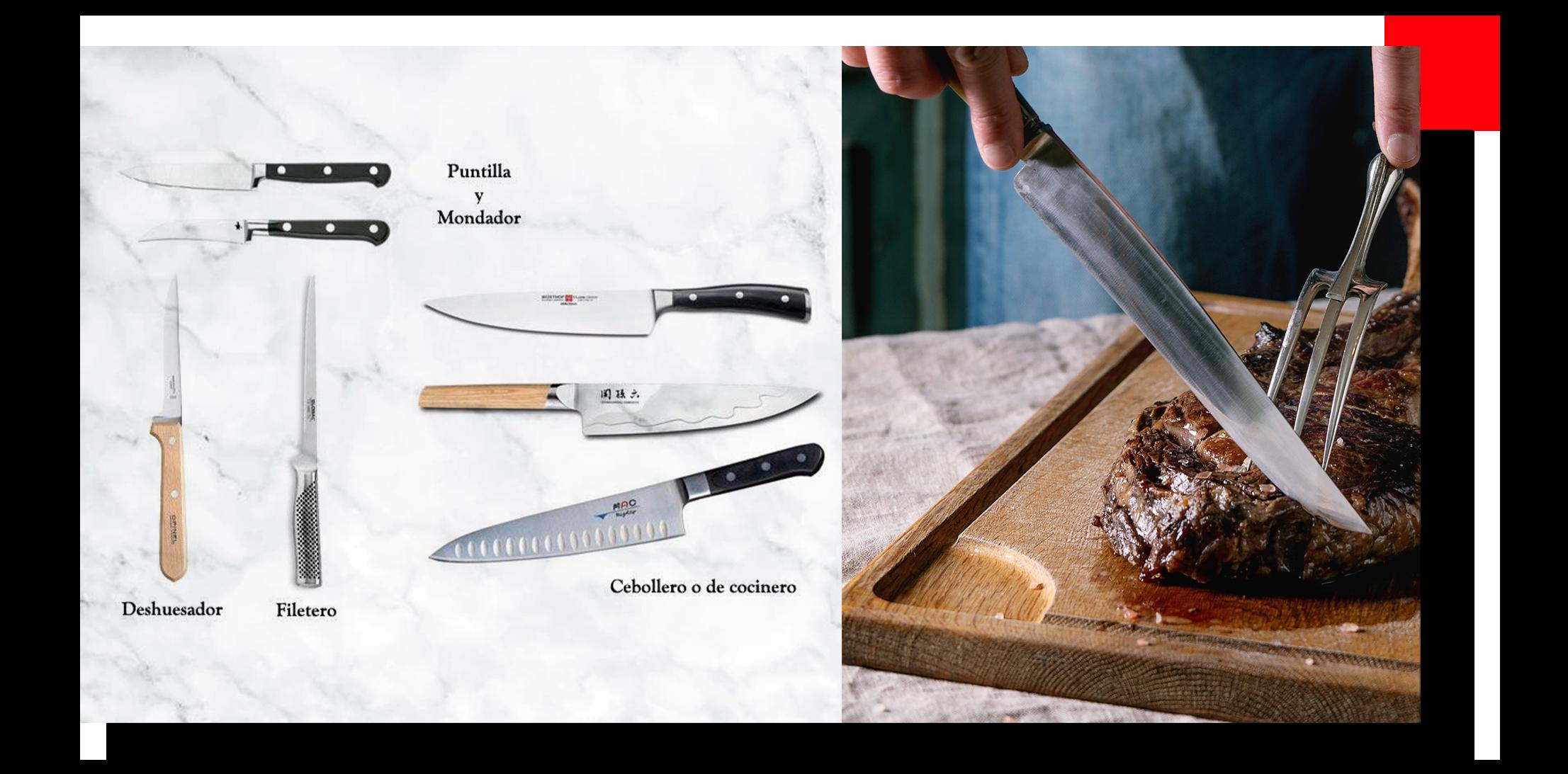 Tipos de cuchillos de cocina cortando carne