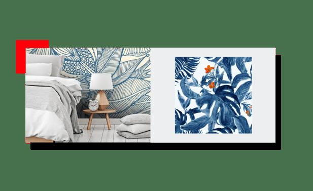 habitación con papel mural