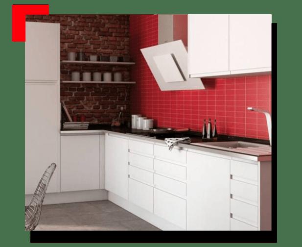 cocina con azulejos rojos