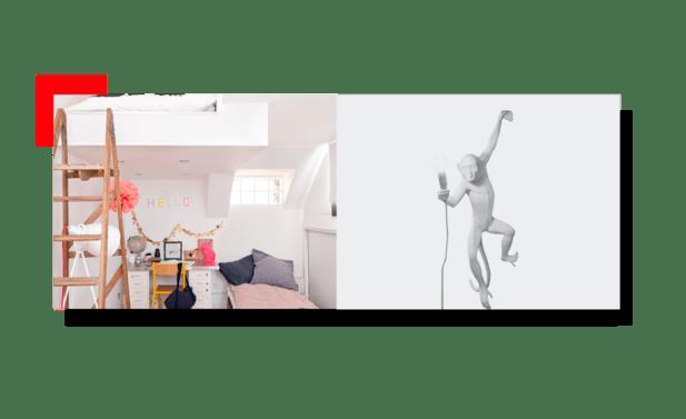 Habitación con decoración vertical
