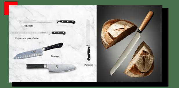 tipos de cuchillos para pan